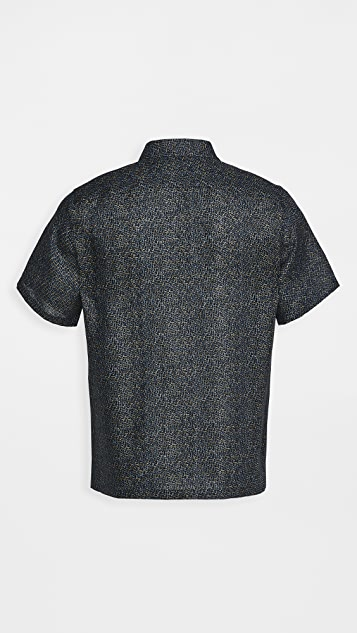 Theory Irving Spur Linen Short Sleeve Shirt