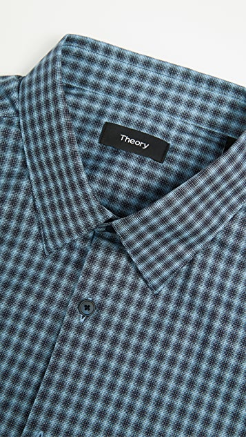 Theory Irving Faded Check Shirt