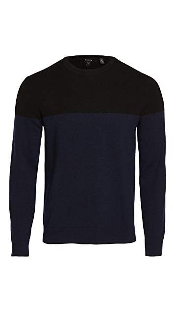 Theory Hilles Cashmere Colorblocked Sweater
