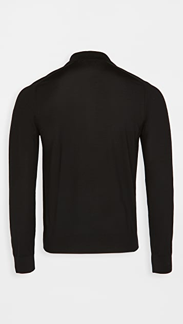 Theory Long Sleeve Cashmere Polo Shirt