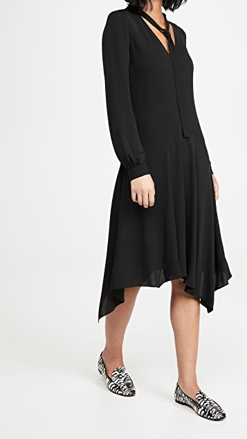 Theory Tie Neck Drape Dress