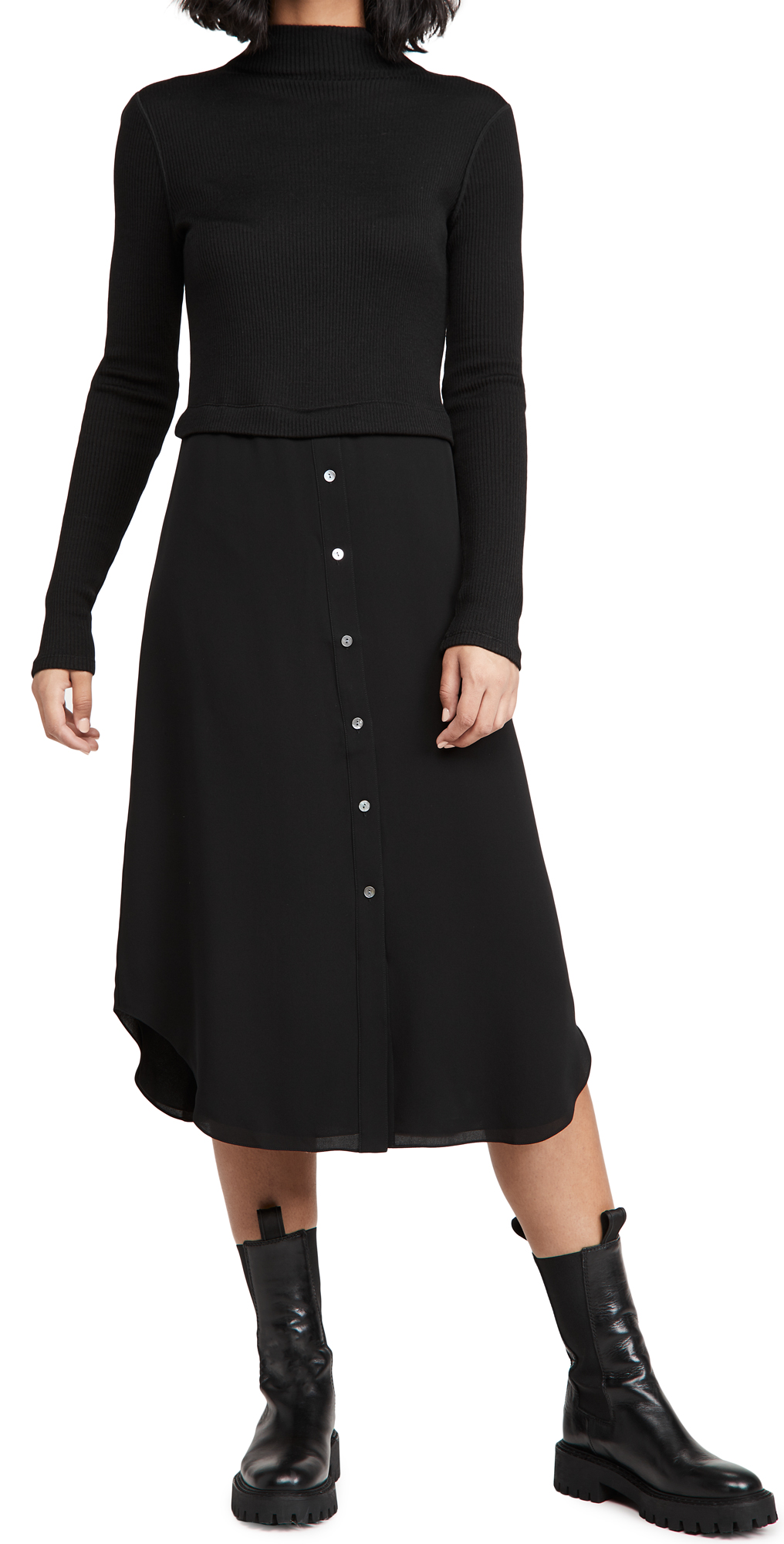 Theory Long Sleeve Combo Dress