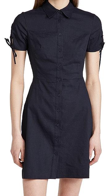 Theory Linen Tied Sleeve Dress