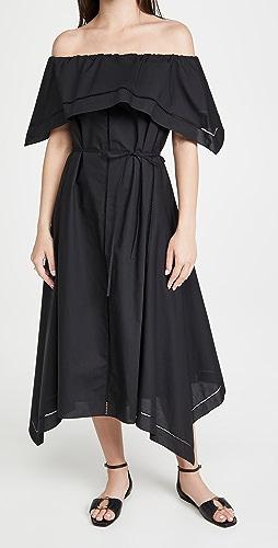 Theory - Off shoulder Eyelet Dress