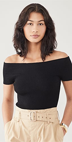 Theory - Off Shoulder Rib Pullover Sweater