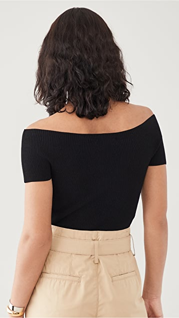 Theory Off Shoulder Rib Pullover Sweater