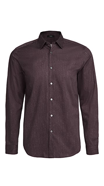 Theory Irving Pixelate Print Shirt