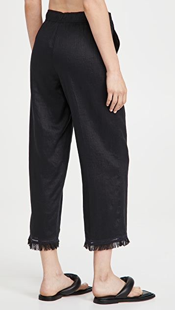 Theory Embroidered Hem Trousers