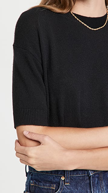 Theory Cashmere Short Sleeve Easy Pull Over