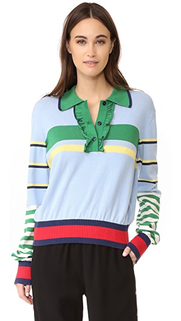 Hilfiger Collection Striped Ruffle Polo Sweater