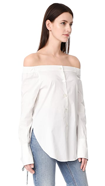 Hilfiger Collection Off Shoulder Long Sleeve Shirt