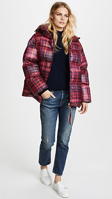 Hilfiger Collection Tartan Short Down Coat