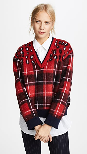 Hilfiger Collection Tartan V Neck Sweater