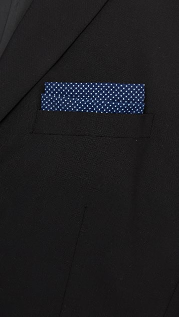 The Hill-Side Indigo Wabash Polka Dot Pocket Square