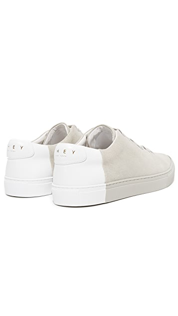 THEY NEW YORK Suede Two Tone Low Sneakers