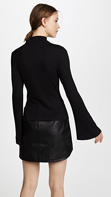 The Range Mock Neck with Bell Slit Sleeve Top