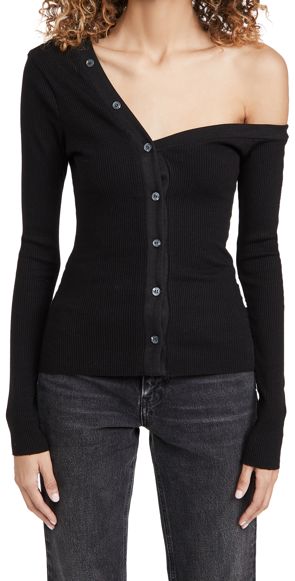 The Range Mass Rib Tilted Button Top