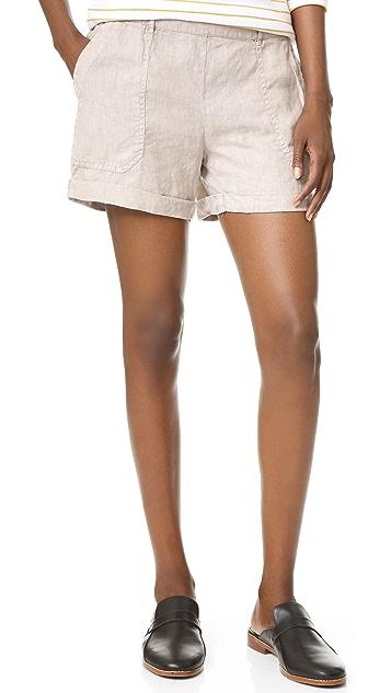 Three Dots Joyce Cuffed Linen Shorts