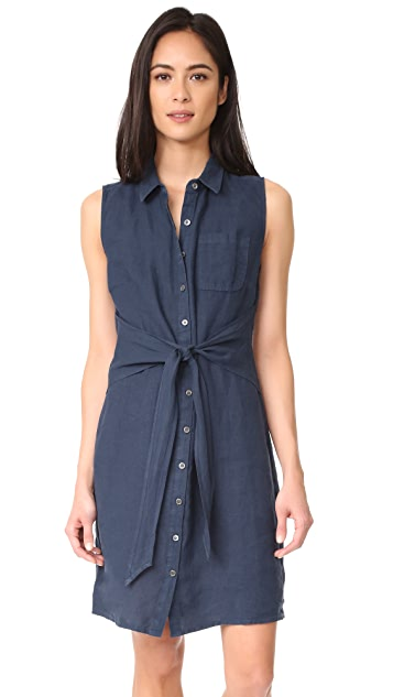 Three Dots Button Up Tie Front Dress