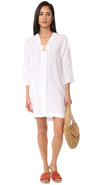Three Dots Lace Up Cocoon Dress