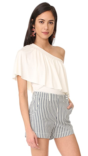 Three Dots Ruffle One Shoulder Top