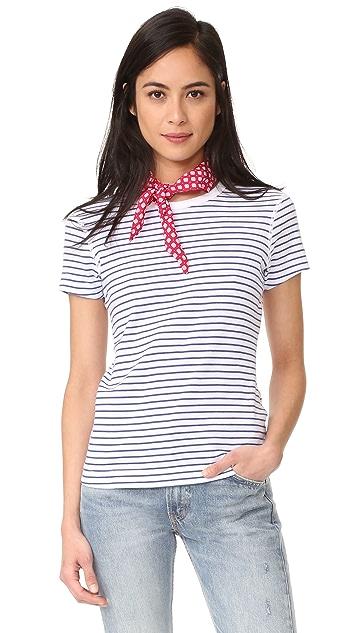 Three Dots Stripe Crew Neck Tee