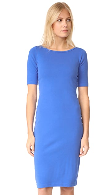 Three Dots Heritage Rib Elbow Sleeve Sheath Dress