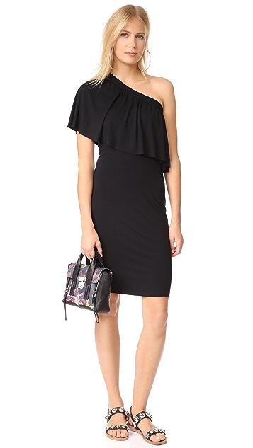 Three Dots One Shoulder Ruffle Dress