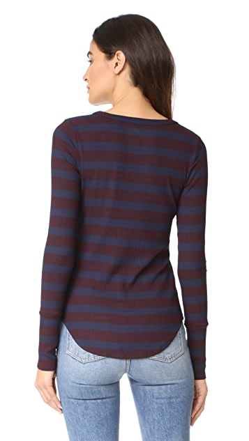 Three Dots Alpine Stripe Henley
