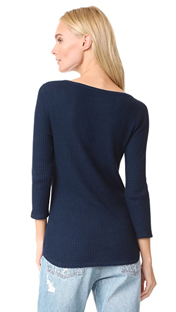 Three Dots Thermal Scoop Long Sleeve Tee