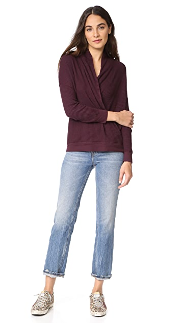Three Dots Thermal Shawl Collar Top