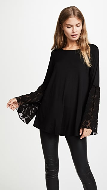 Three Dots Embroidered Tulle Bell Sleeve Top