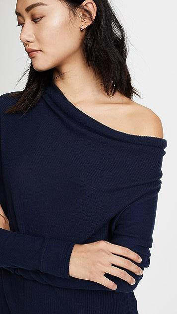 Three Dots Drape Front Asymmetric Sweater