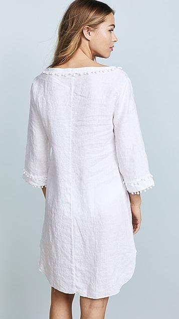 Three Dots Linen Pom Pom Tunic Dress