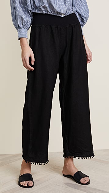 Three Dots Linen Pom Pom Pants