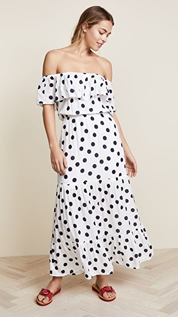 Three Dots Dot Voile Maxi Dress - White