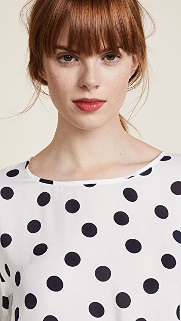 Three Dots Dot Voile Tie Front Blouse