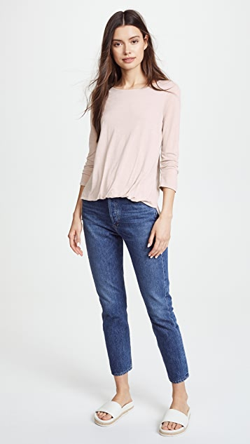 Three Dots Front Tuck 3/4 Sleeve Top