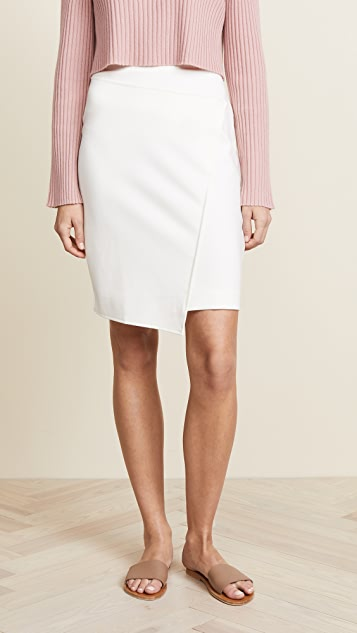 Three Dots Ponte Faux Wrap Skirt - Off White