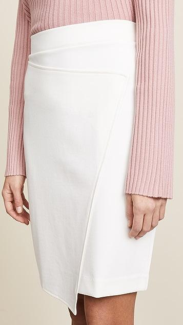 Three Dots Ponte Faux Wrap Skirt