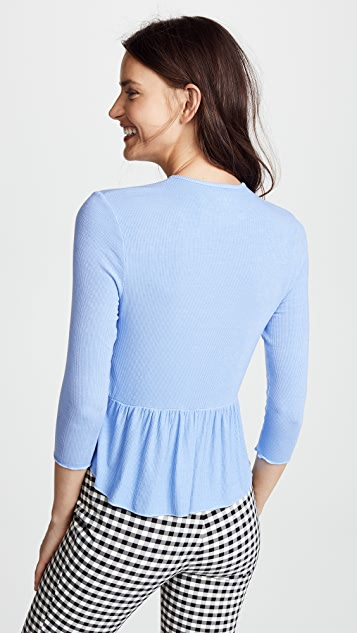 Three Dots Ribbed Flounce Hem Tee