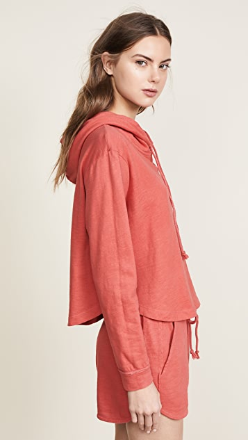 Three Dots Sueded Slub Cropped Hoodie