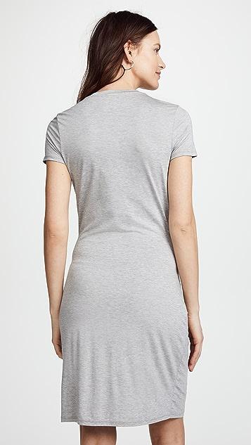 Three Dots Big Sur Stripe Tie Front Dress