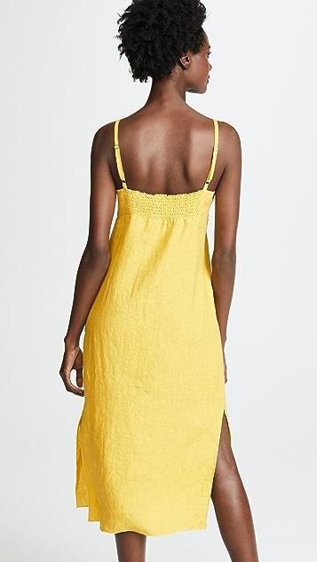 Three Dots Льняное миди-платье с завязкой спереди