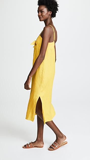 Three Dots Linen Tie Front Midi Dress