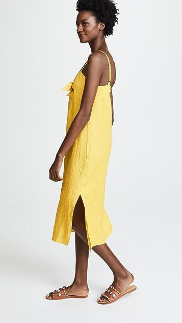 3db31c5f59 ... Three Dots Linen Tie Front Midi Dress ...