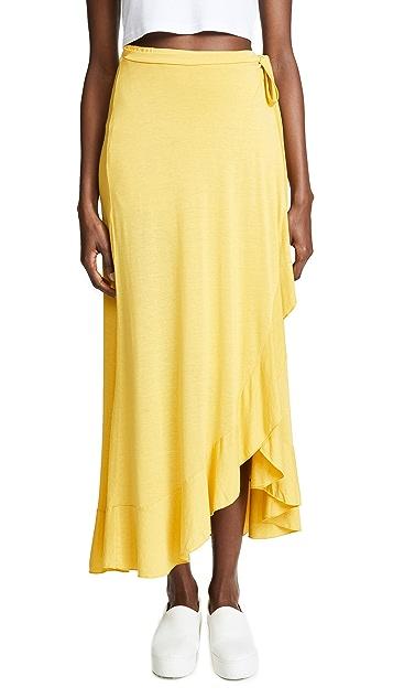 Three Dots Jersey Wrap Skirt