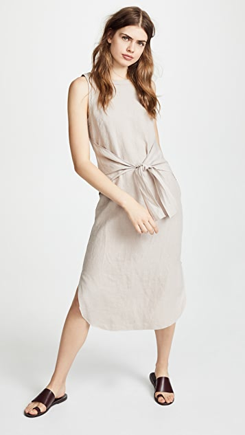 Three Dots Tie Front Midi Dress