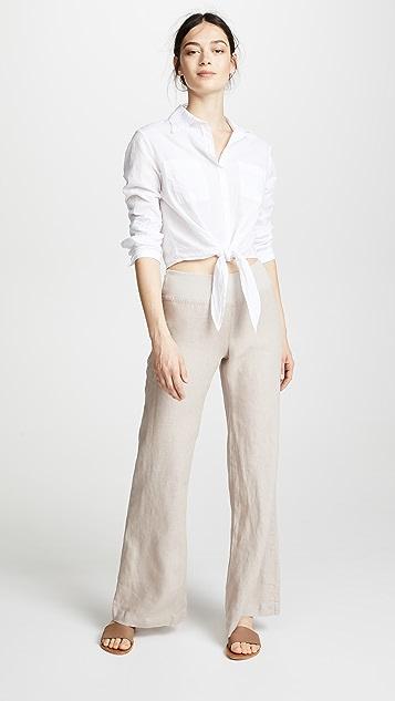 Three Dots Woven Linen Wide Leg Pants