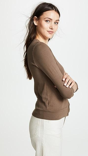 Three Dots Cardigan with Shirred Sleeves